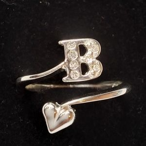 Sterling silver pave initial ring letter B Avon